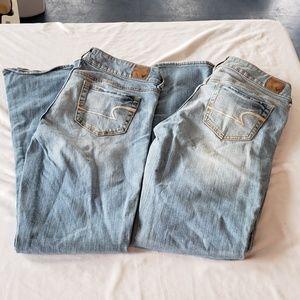 LOT 2 Pairs Americcan Eagle Artist Jeans 6  Distre